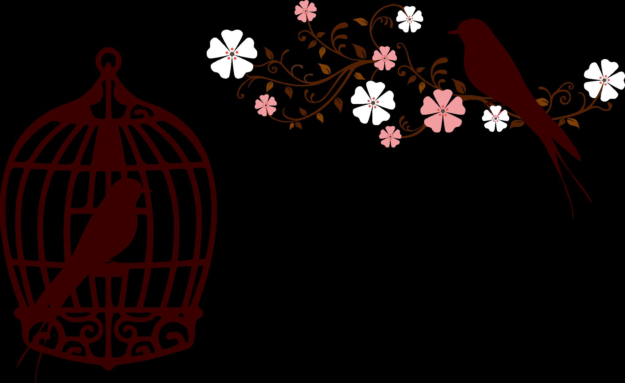 Floral birds silhouette no. Cage clipart transparent background