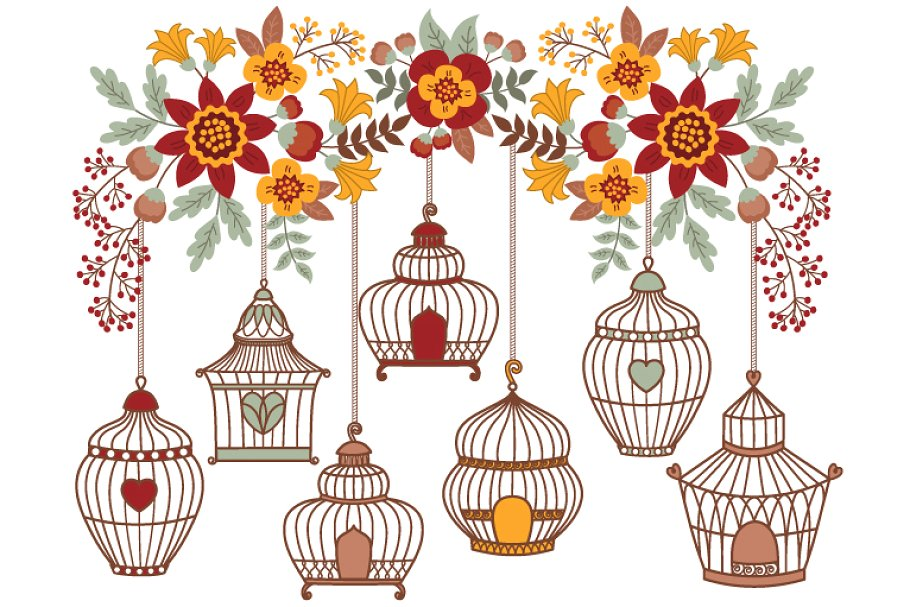 Bird cages and floral. Cage clipart vector