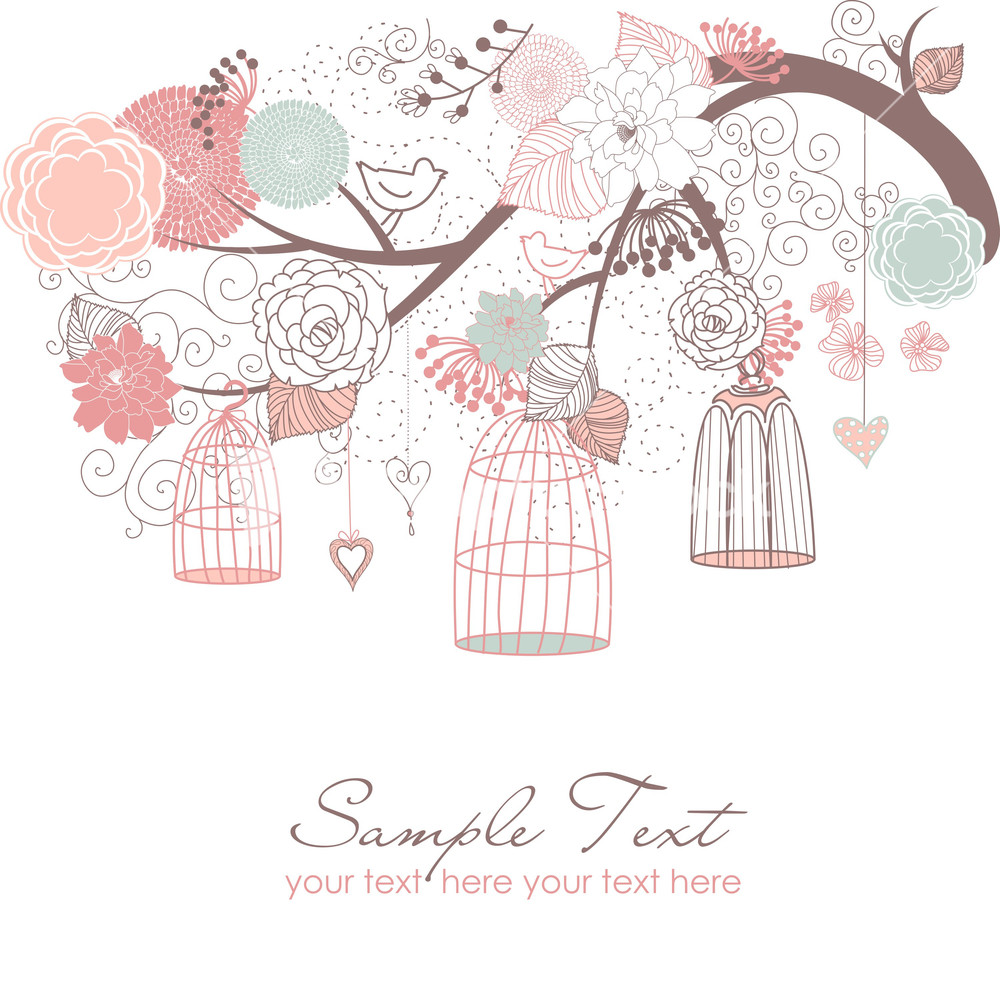Cage clipart vector. Floral pencil and in