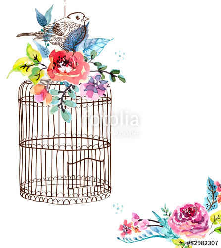 Watercolor flowers and bird. Cage clipart vector