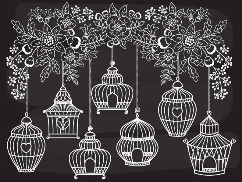 Cage clipart vector. Chalkboard bird digital cages