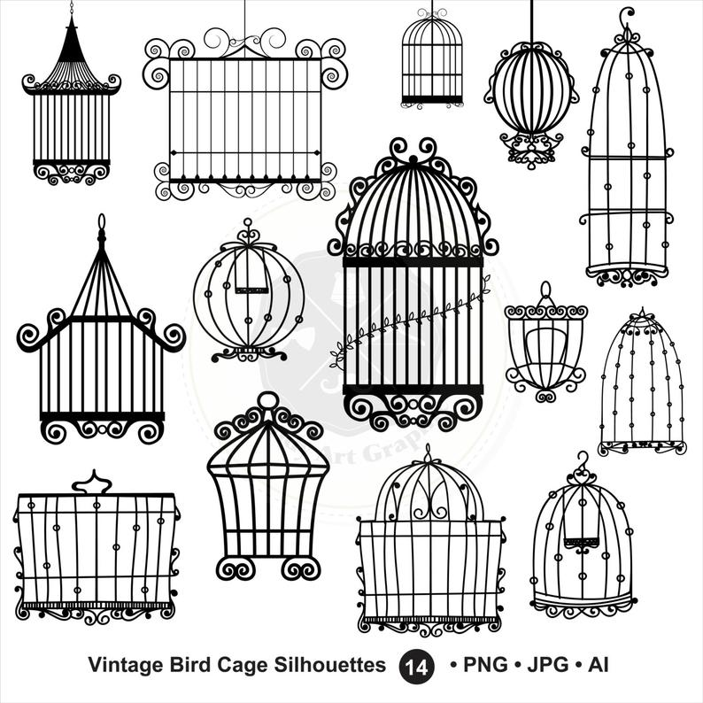 Cage clipart vintage. Bird silhouettes digital download