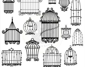 Bird silhouettes clipartbird clipartsilhouettes. Cage clipart vintage