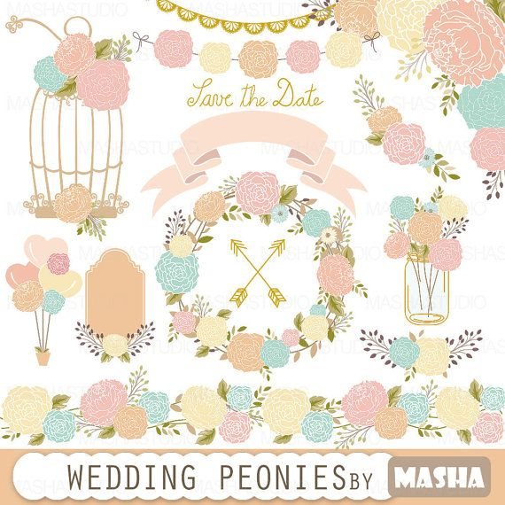 Cage clipart wedding. Peonies with peony clipartwedding