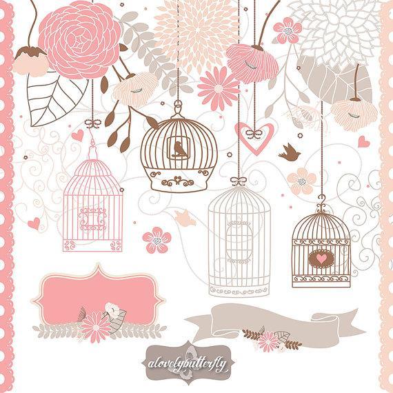 Cage clipart wedding. Flower bird rose blush