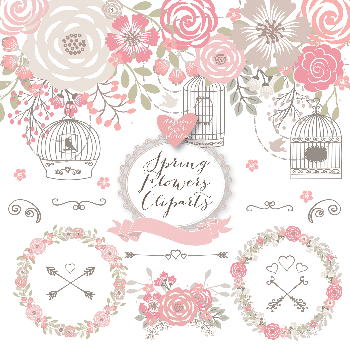 Premium rustic shabby chic. Cage clipart wedding