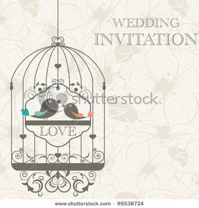 Birds in the of. Cage clipart wedding