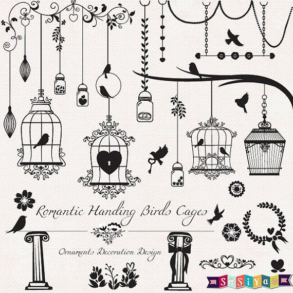 Romantic silhouette birds design. Cage clipart wedding