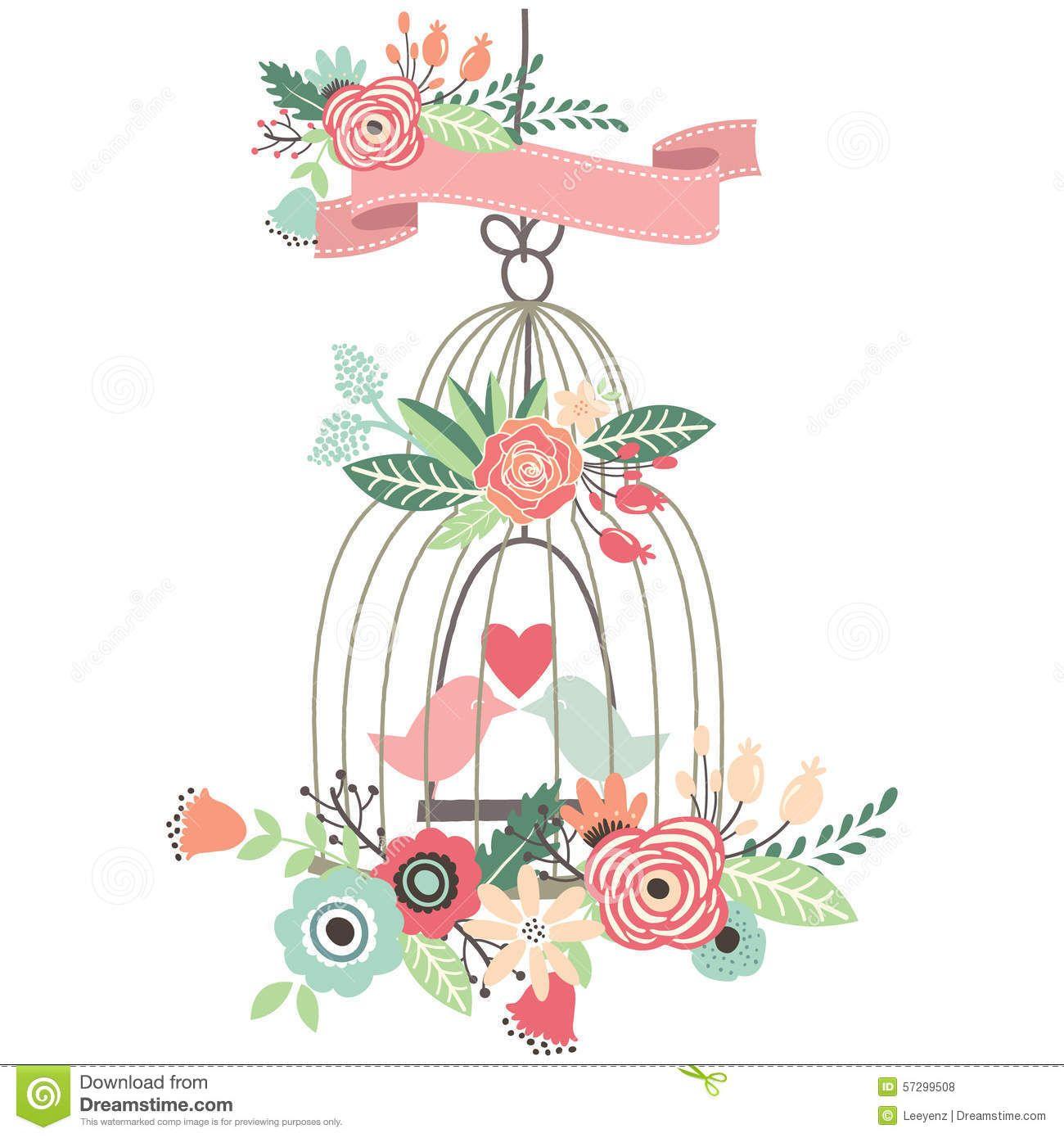 Cage clipart wedding. Vintage floral birdcage vector