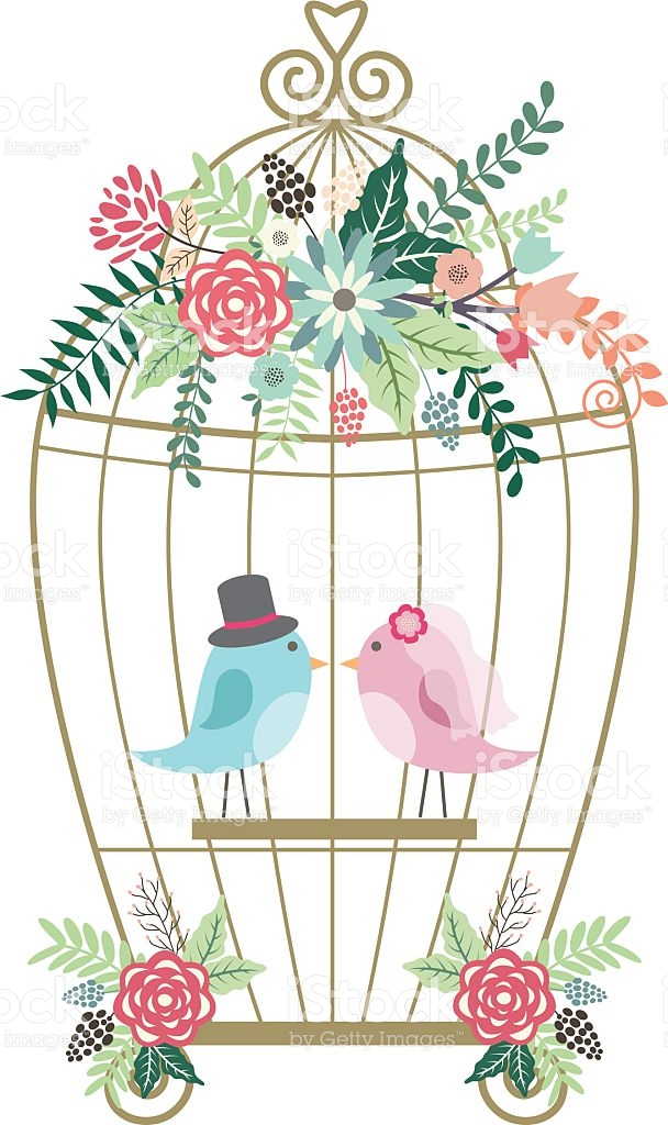 Birdcage pencil and in. Cage clipart wedding
