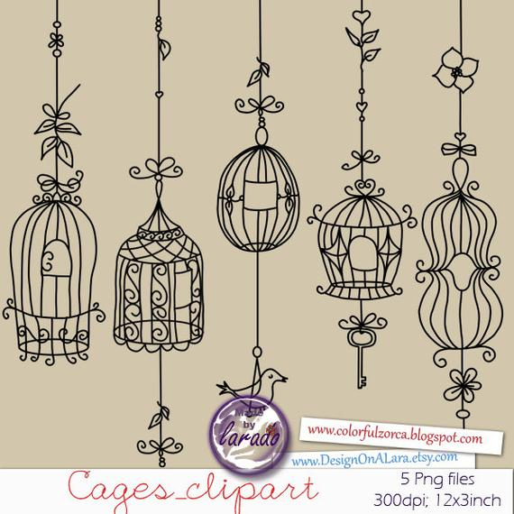 Cage clipart wedding. Bird rustic digital cages
