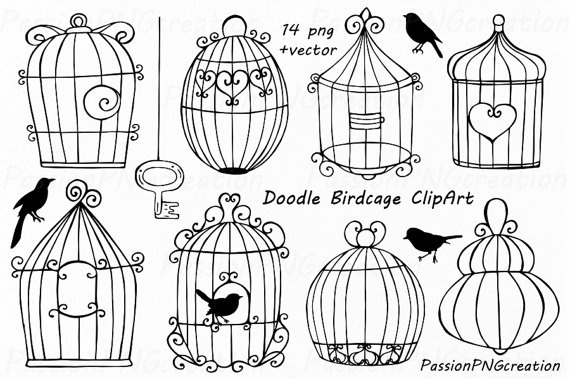 Cage clipart wedding. Doodle birdcage bird cages