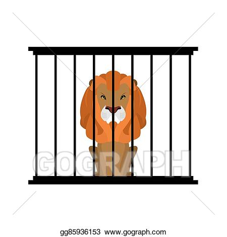 Cage clipart zoo cage. Vector lion in strong