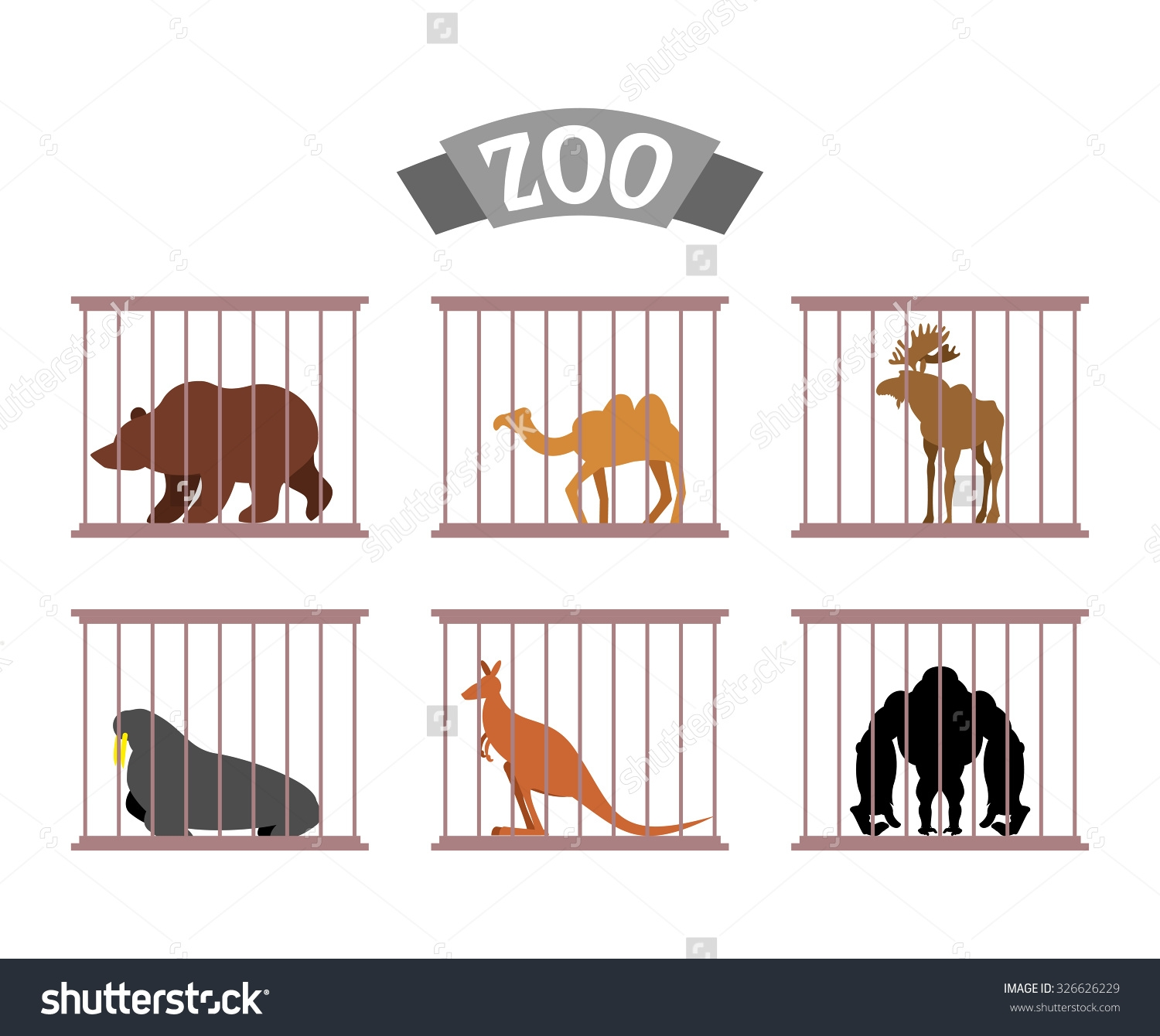 Pencil and in color. Cage clipart zoo cage