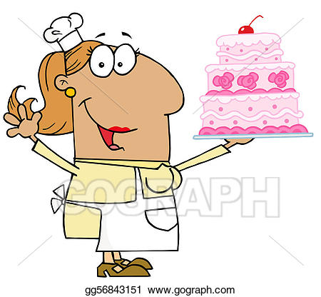 Vector art tan cartoon. Clipart cake baker