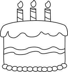 Birthday panda free . Cake clipart black and white