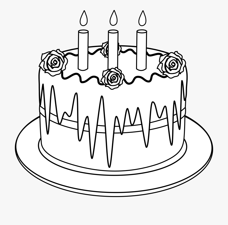 Colorable line art of. Cake clipart black and white