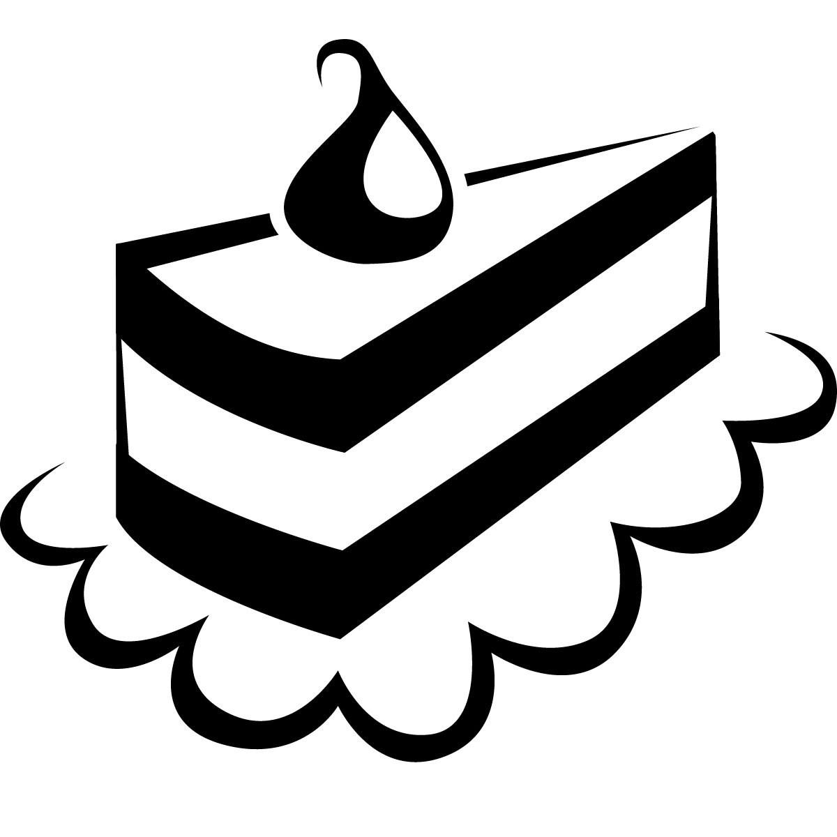 Cake clipart black and white. Slice of clip art