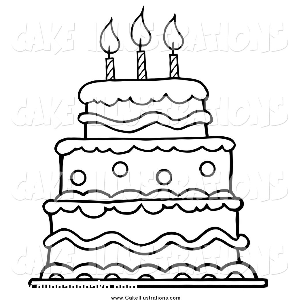 Cake clipart black and white. Sweet looking happy birthday