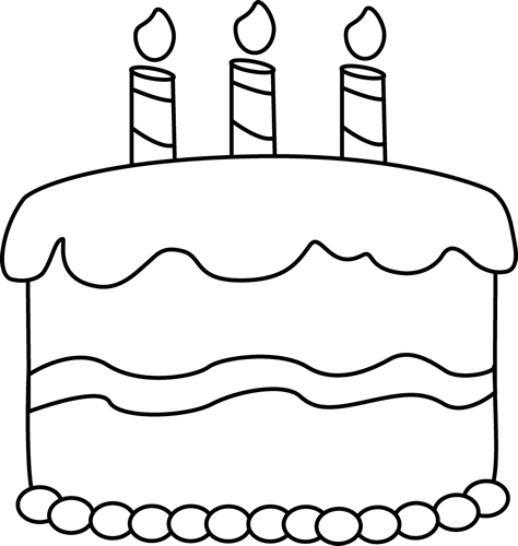 Small birthday coloring food. Cake clipart black and white