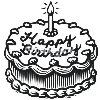 Birthday recipe. Cake clipart black and white