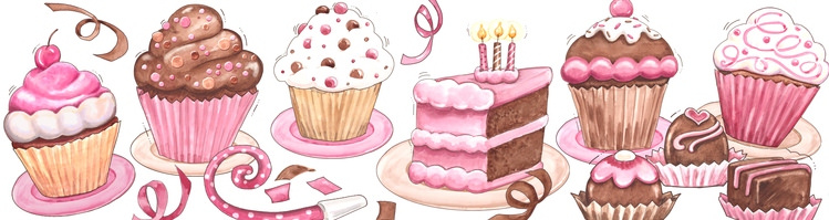 Illustration of a birthday. Cake clipart boarder