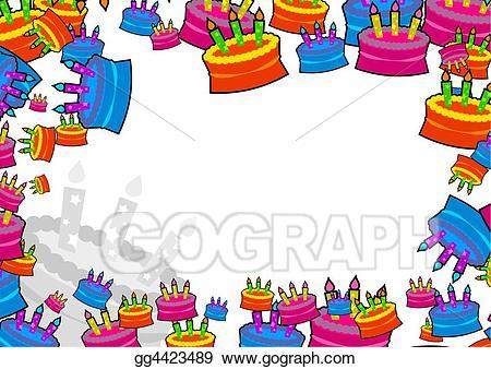 Cake clipart boarder. Stock illustration border gg