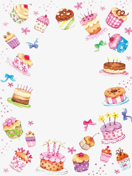 Hand painted watercolor border. Cake clipart boarder