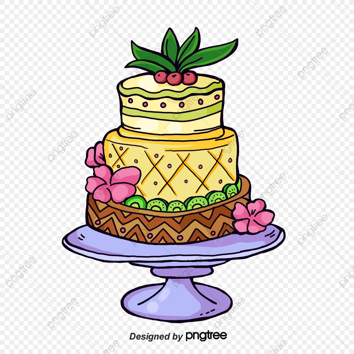Watercolor . Cake clipart cake design
