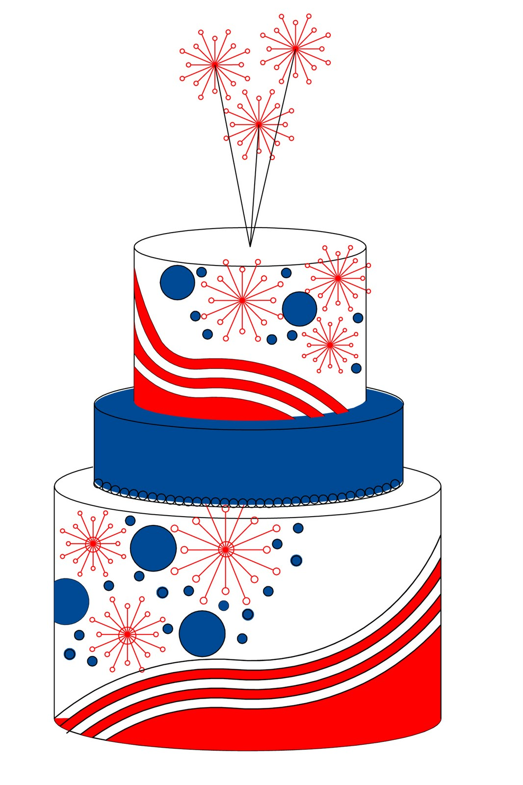 Cake clipart cake design.  th of july