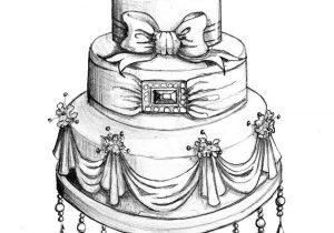 Pencil and in color. Cake clipart classy