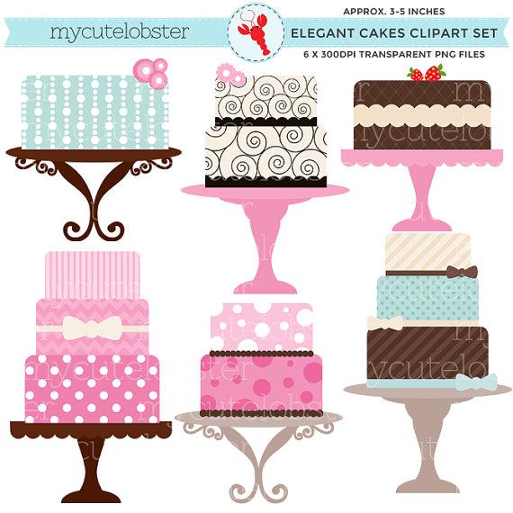Cakes set clip art. Cake clipart classy