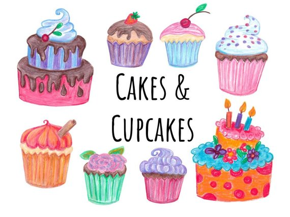 Cake clipart cupcake. Hand drawn and cupcakes