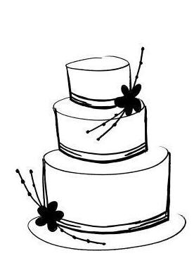 Cake clipart easy. Wedding line drawing at
