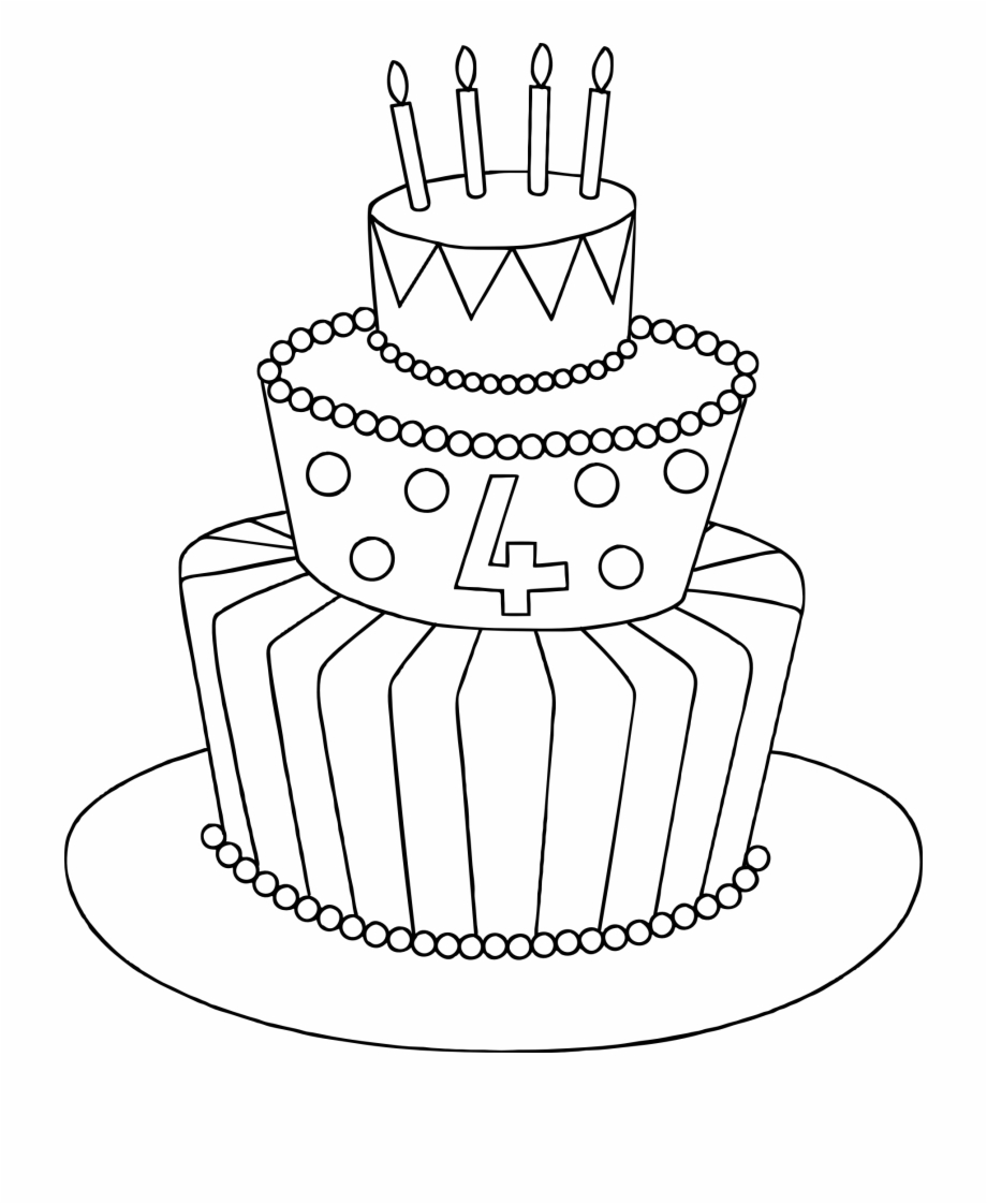 Cake clipart easy. Simple birthday drawing of