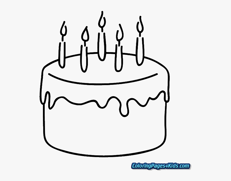 Cake clipart easy. Coloring page pages birthday