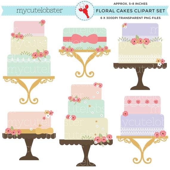 Cakes set clip art. Cake clipart floral
