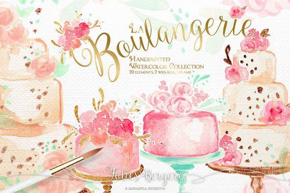 Bakery wedding cakes birthday. Cake clipart floral