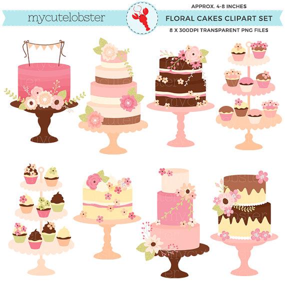 Cake clipart floral. Pretty cakes set clip
