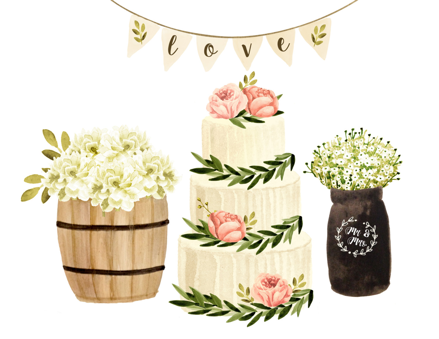 Wedding watercolor . Clipart cake floral