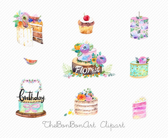 Watercolor party bakery wedding. Cake clipart floral