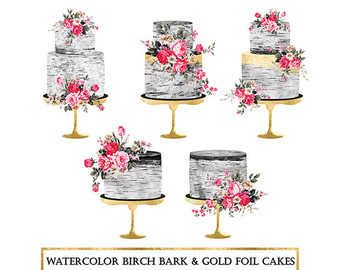 Rose gold shabby chic. Cake clipart floral
