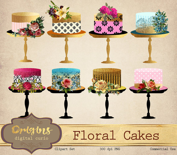 Cake clipart floral. Shabby chic gold foil