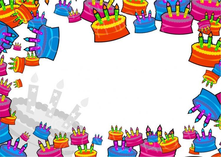 Cake clipart frame. Birthday page border prawny