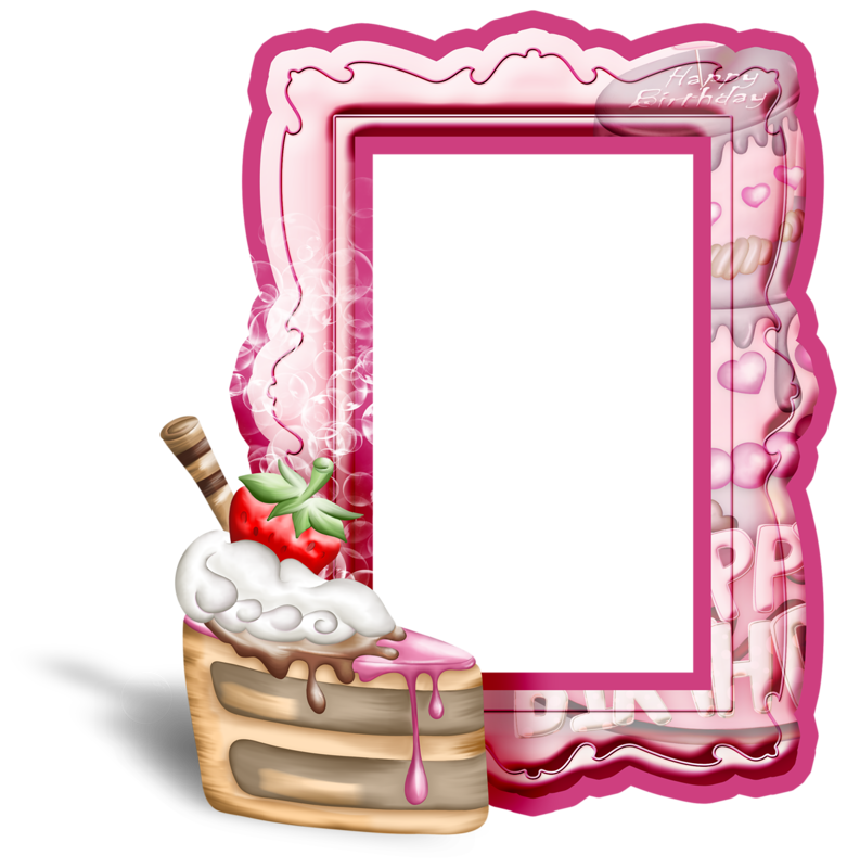 Pink birthday transparent with. Cake clipart frame