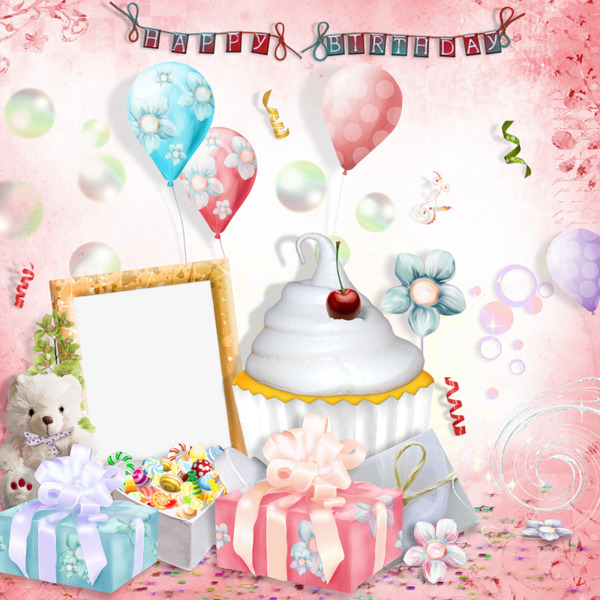 Cake clipart frame. Birthday present happy png