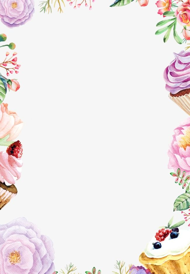 Drawing poster watercolor flowers. Cake clipart frame