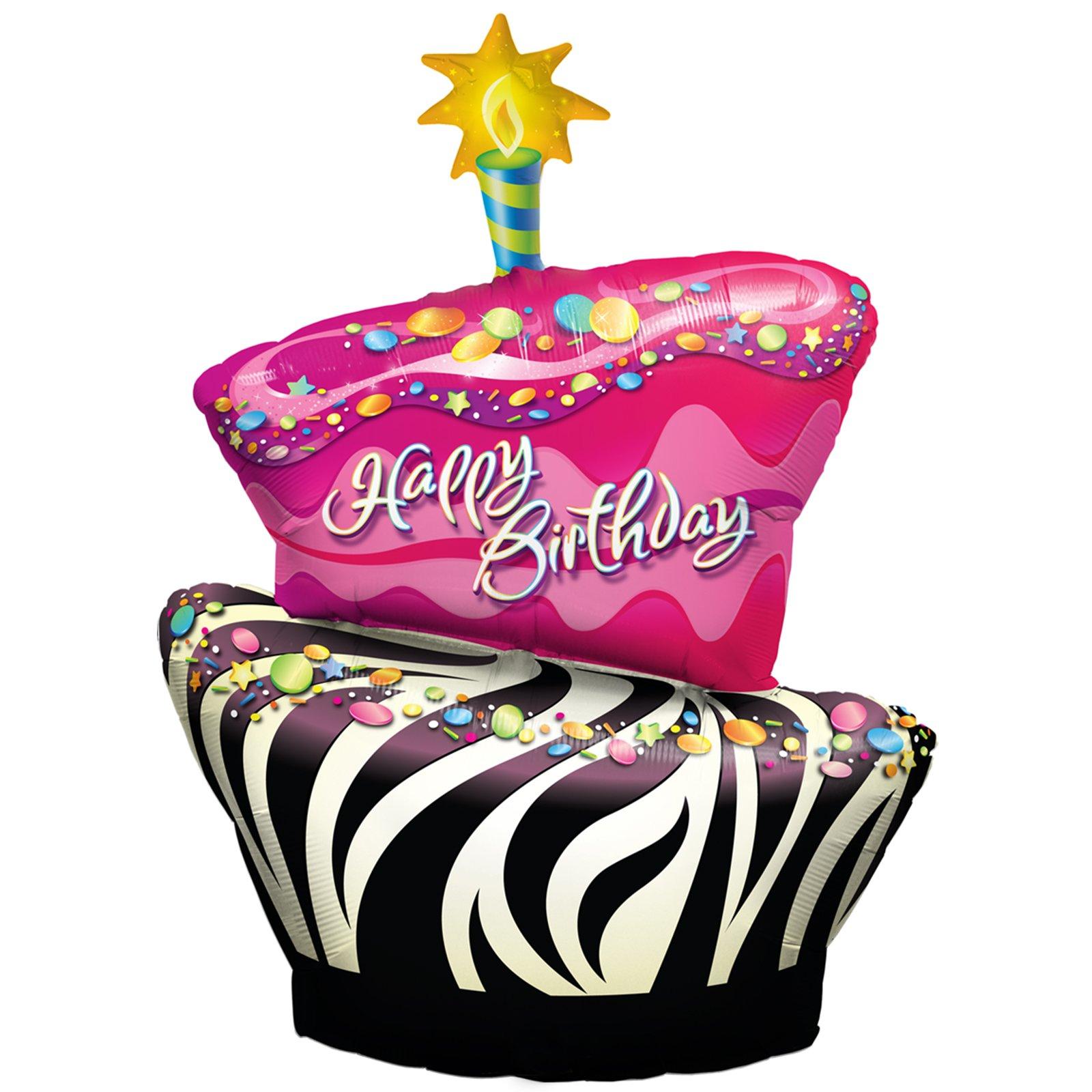 Cake clipart funky. Zebra birthday foil panda