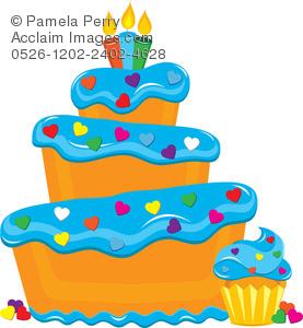 Cake clipart funky. Clip art illustration of