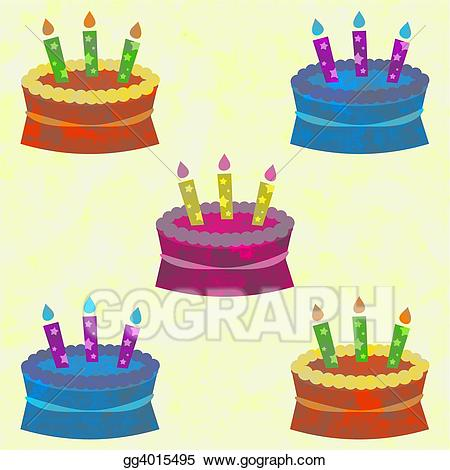 Stock illustrations cakes gg. Cake clipart funky